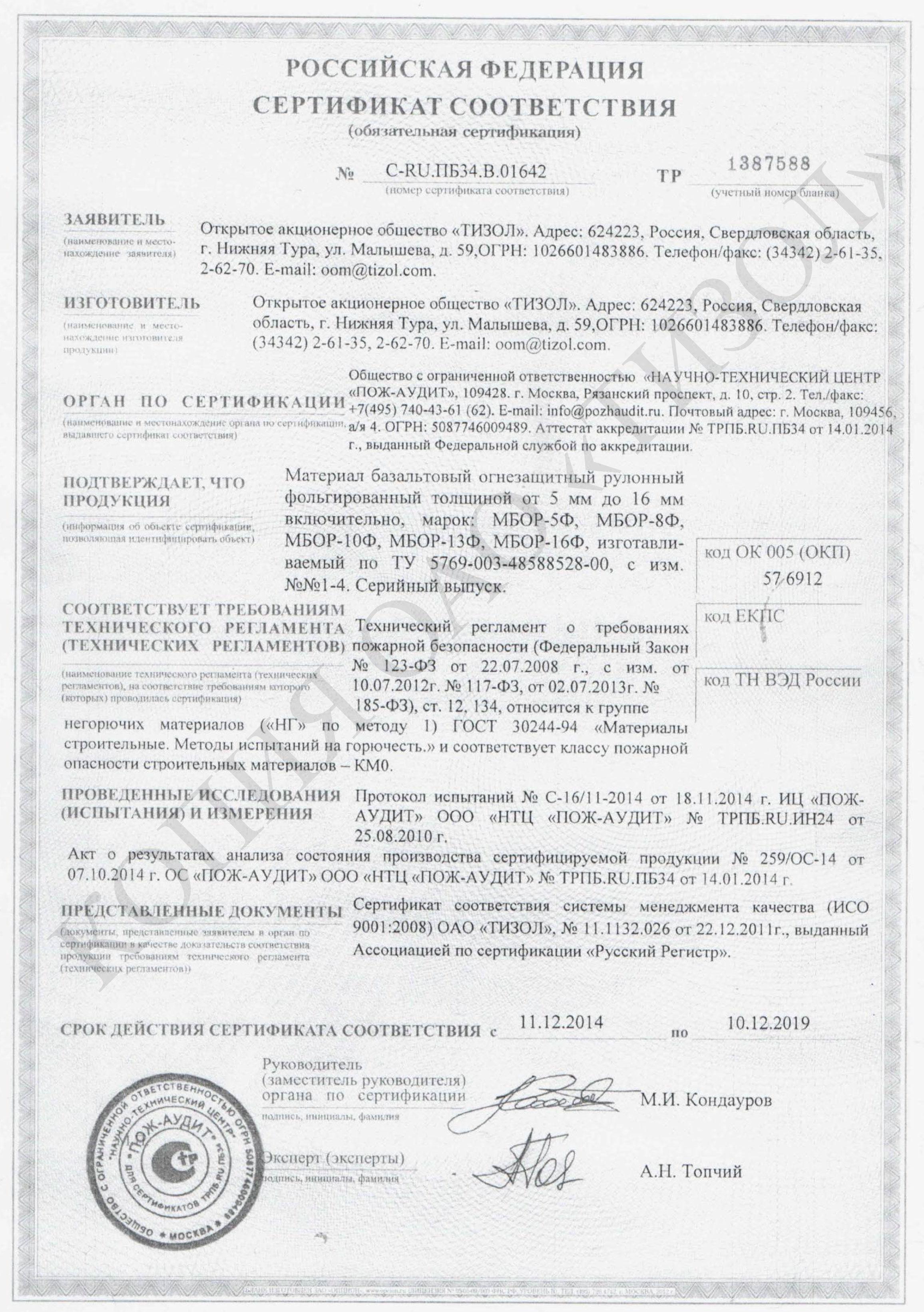 Паспорт на огнеупорную глину сертификат соответствия